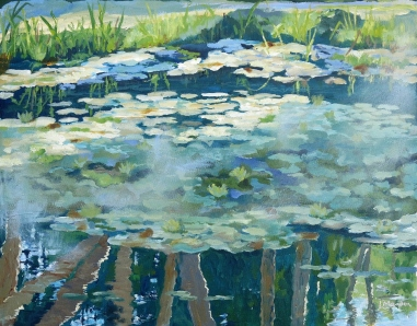 """REFLECTIONS Contemplation here becomes a mirror to the soul. 16"""" X 20"""" Acrylic on Canvas Ready to hang $ 550"""