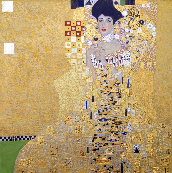 The Woman in Gold in the Manner of Gustav Klimt 24Kt Gold Leaf Silver